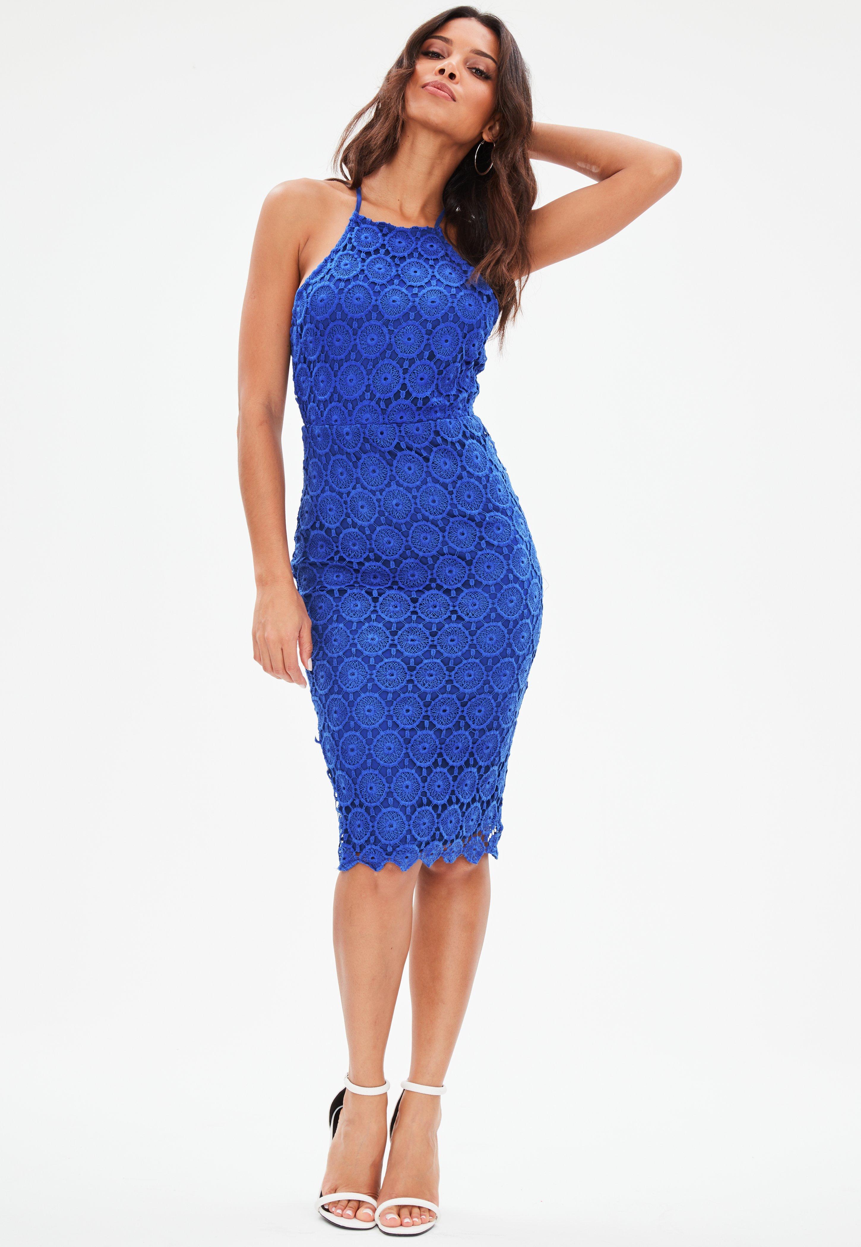 Blue Crochet Lace Halterneck Backless Midi Dress