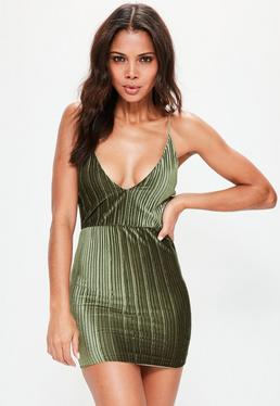 Khaki Pleated Velvet Strappy Bodycon Dress