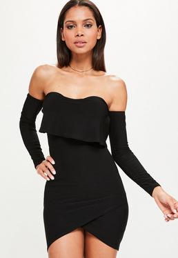 Black Overlay Bardot Bodycon Dress