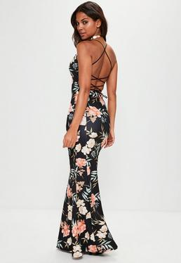 Black Cross Back Plunge Floral Fishtail Maxi Dress