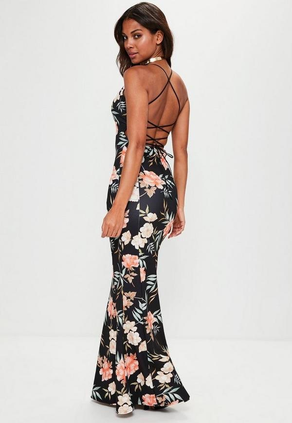 Black Cross Back Plunge Floral Fishtail Maxi Dress