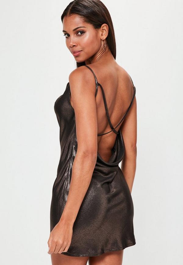 Brown Cowl Cami Dress