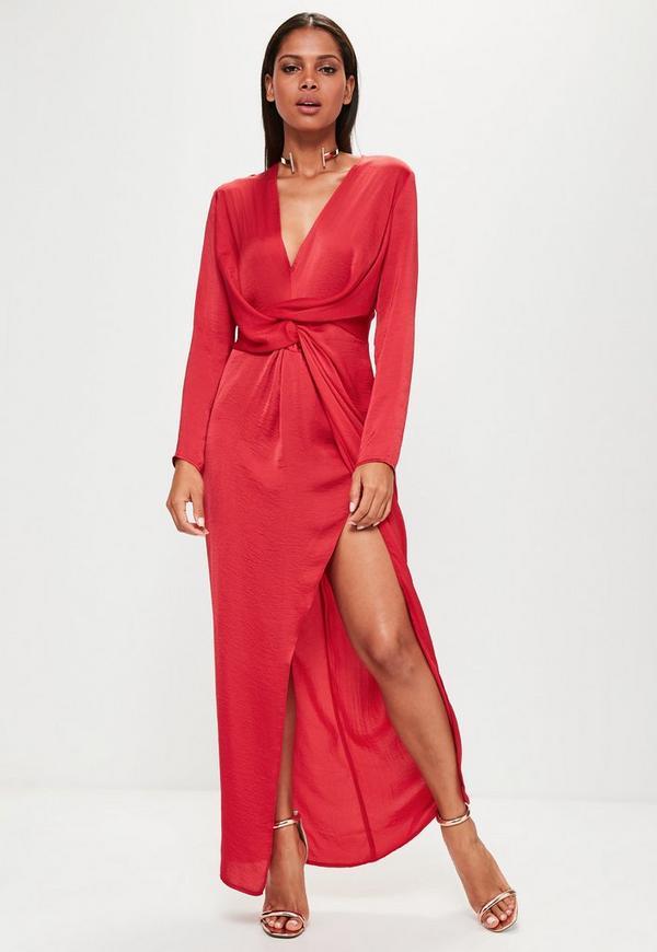 Red Wrap Front Shirt Maxi Dress