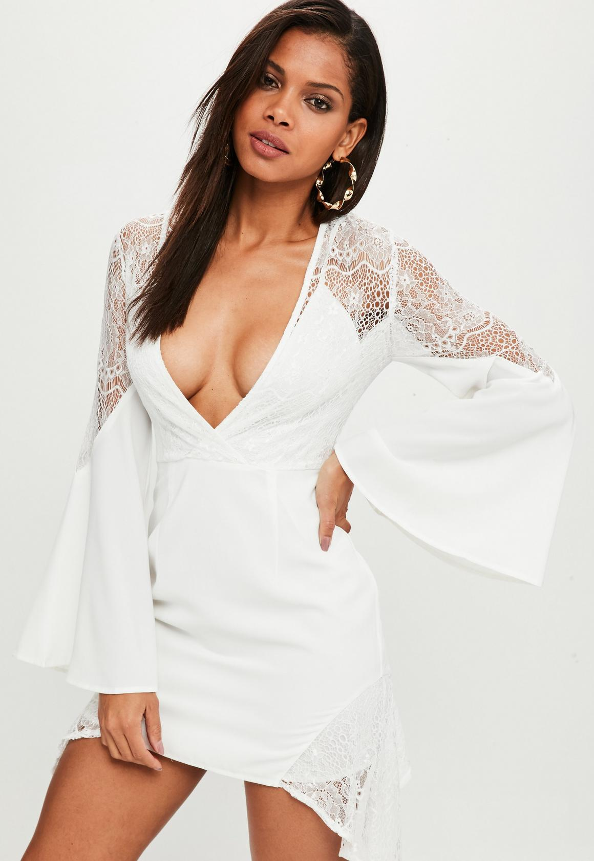 White Lace Insert Asymmetric Mini Dress | Missguided