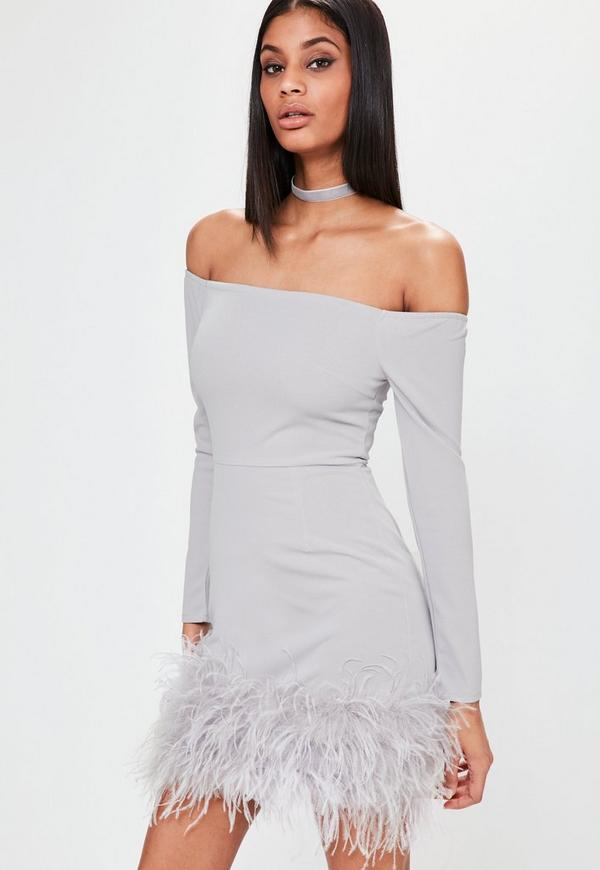 Lilac Bardot Feather Hem Dress