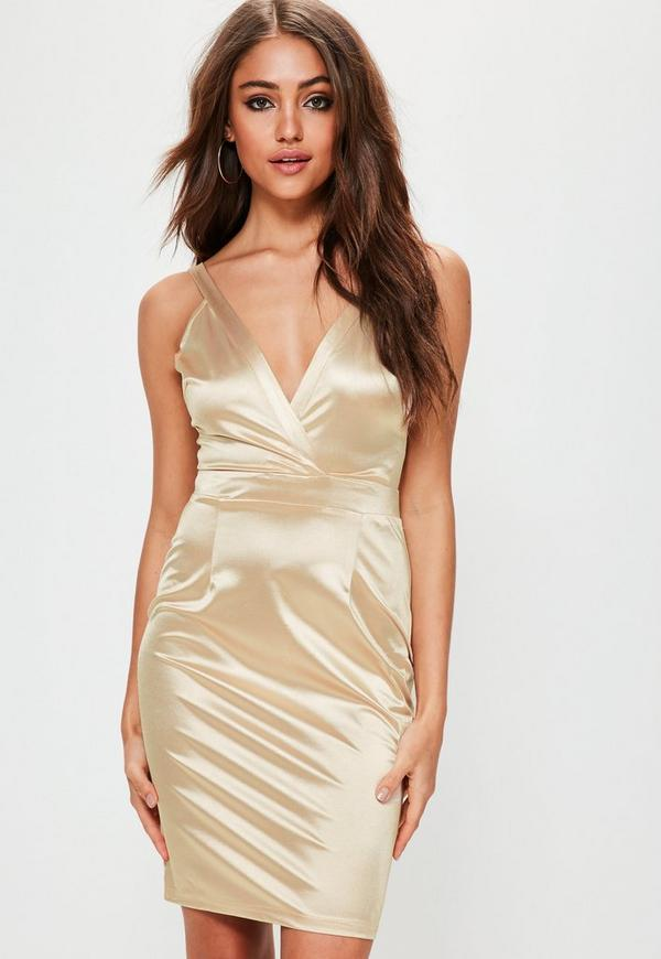 Nude Stretch Satin Plunge Bodycon Dress