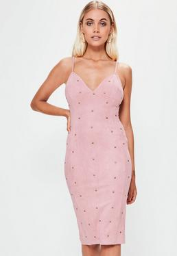 Pink Faux Suede Silver Stud Detail Midi Dress