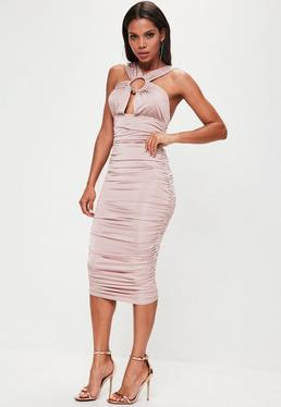 Pink Slinky Ruched Side Bull Ring Dress