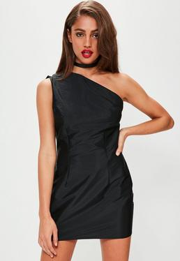 Black Taffetta One Shoulder Bodycon