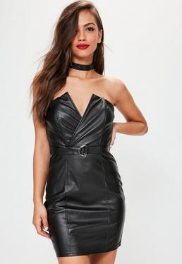 Vestido ajustado bandeau de cuero sintético con detalle de anilla en negro
