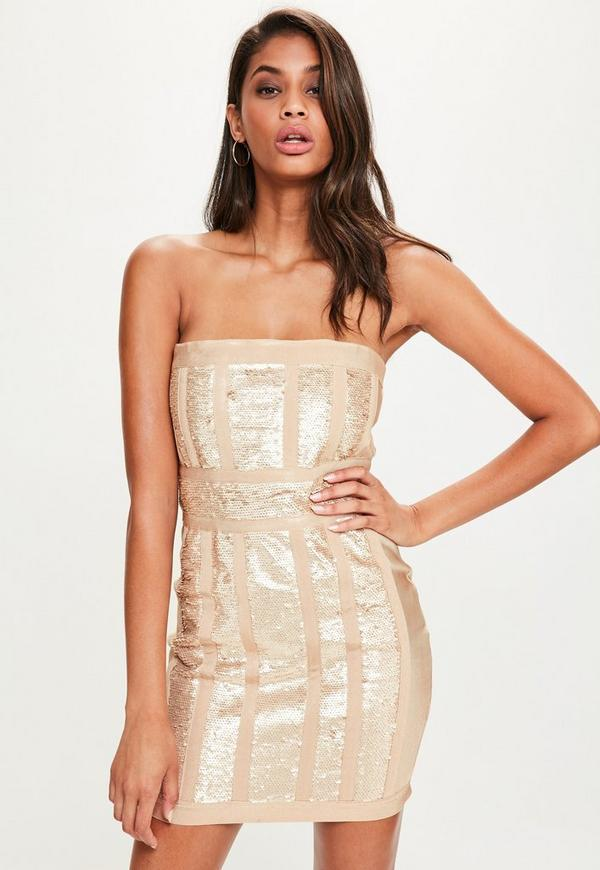 Nude Bandeau Bandage Sequin Bodycon Dress