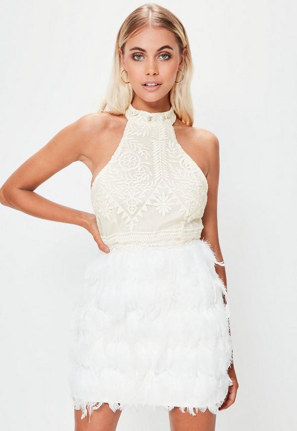 White High Neck Lace Feather Hem Bodycon Dress