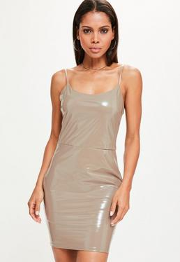 Nude Vinyl Strappy Bodycon Dress