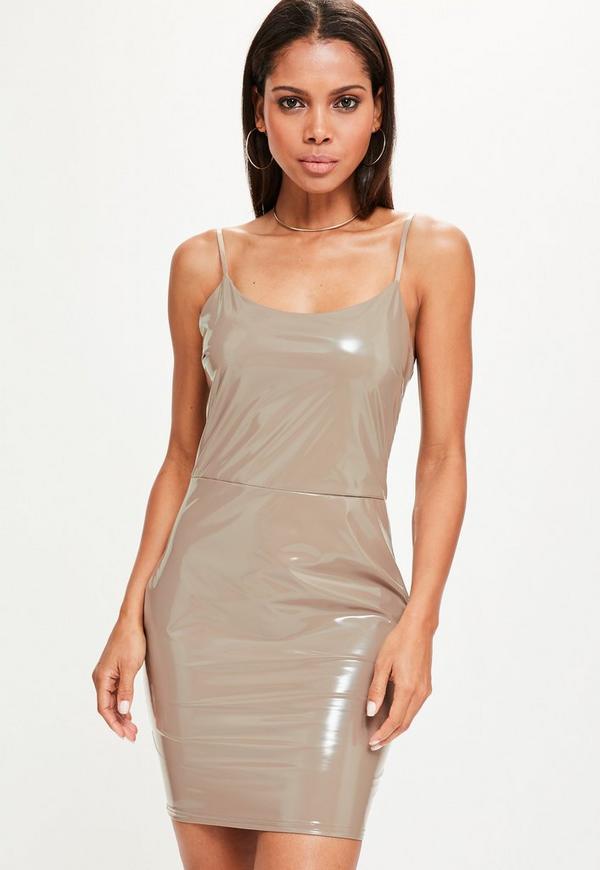Nude Vinyl Strappy Bodycon Dress