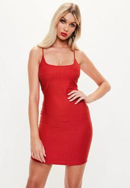 Red Strappy Scoop Neck Bandage Bodycon Dress