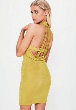 Green High Neck Low Back Strap Dress