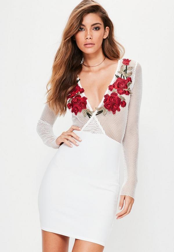 White Long Sleeve Fishnet Floral Applique Bodycon Dress