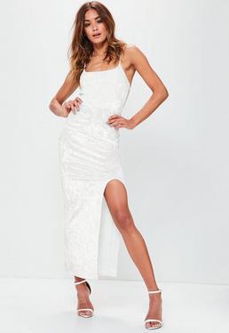 White Strappy Velvet Split Ankle Grazer Dress
