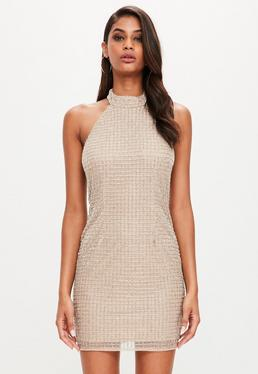 Peace + Love Nude Halterneck Embellished Bodycon Dress