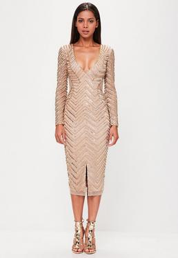 peace + love Nude Long Sleeve Embellished Split Dress