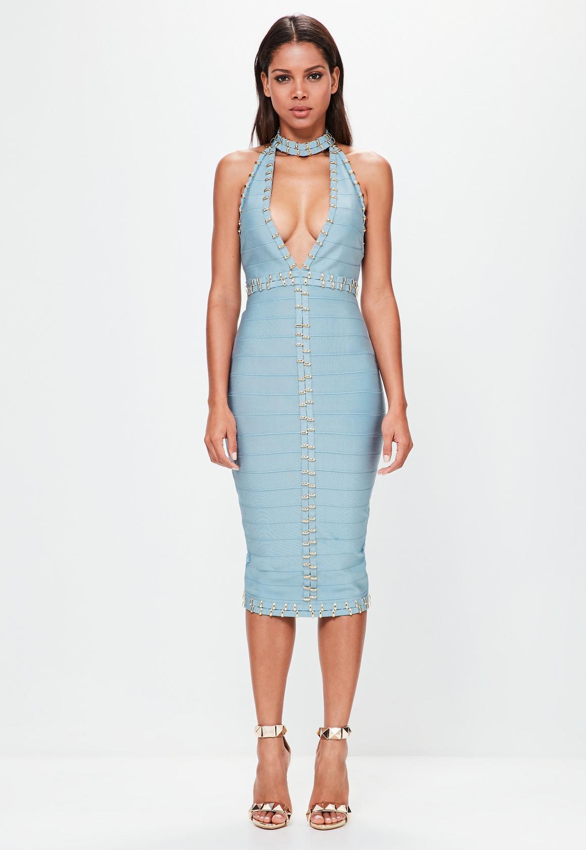 Peace + Love Blue Tab Neck Gold Ring Detail Midi Dress ...
