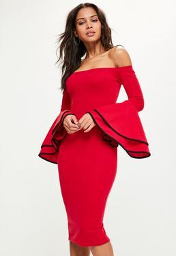 Red Bardot Flare Sleeve Midi Dress