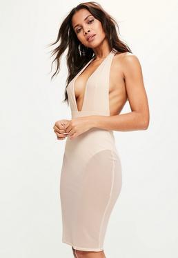 Pink Mesh Skirt Slinky Halter Bodycon Dress