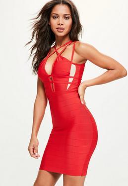 Czerwona dopasowana sukienka premium z paskami na dekolcie