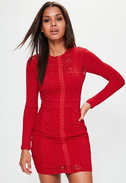Red Lace Panel Long Sleeve Bodycon Dress