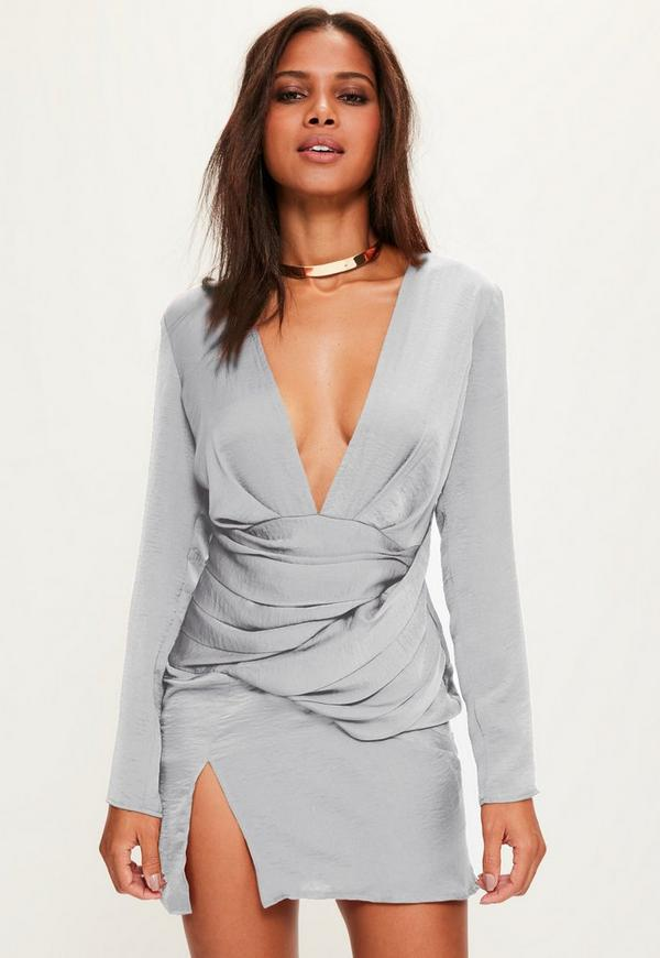 Grey Silky Long Sleeved Panelled Shift Dress