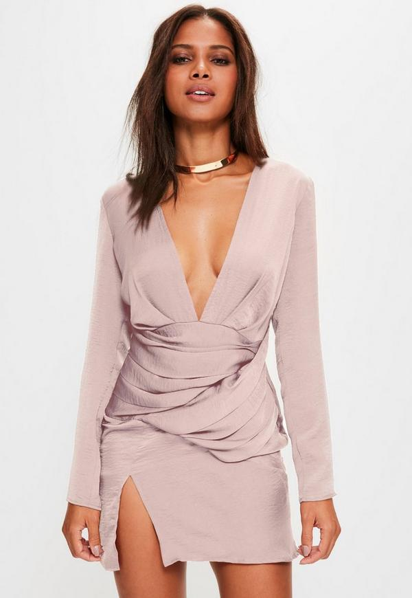 55aa846ccd14 Pink silky long sleeve panelled shift dress | Missguided