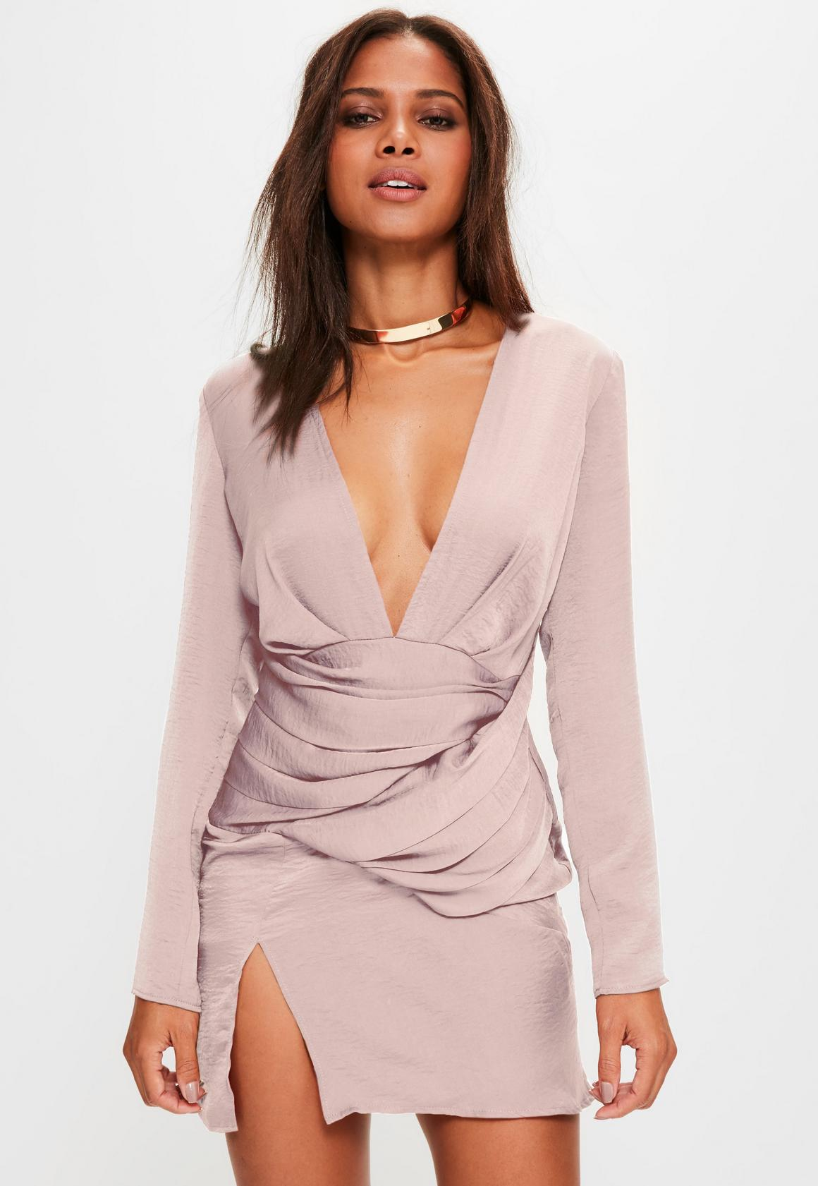 25557a4a38 Missguided - Pink silky long sleeve panelled shift dress