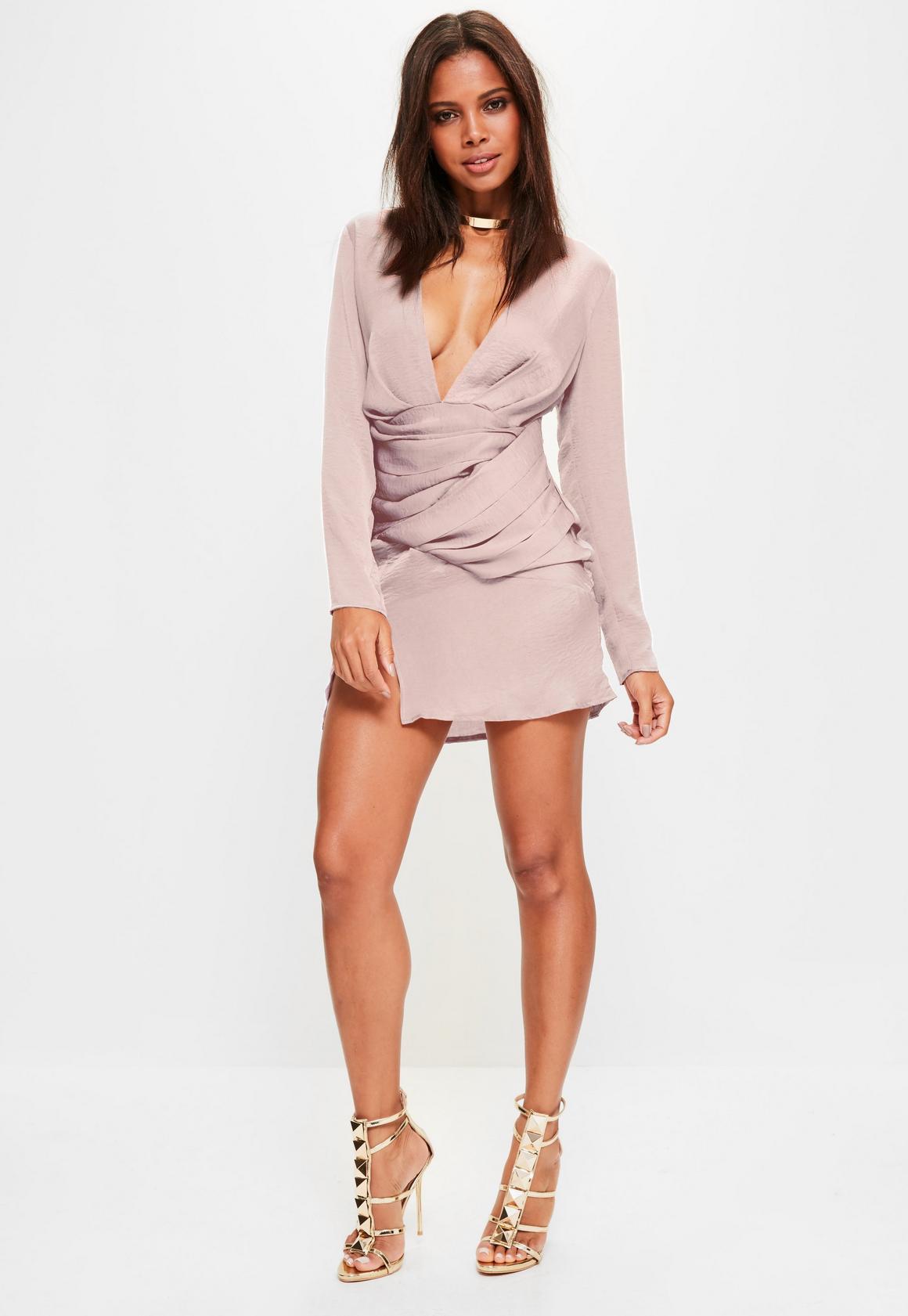 ac8da5767bd Missguided - Pink silky long sleeve panelled shift dress