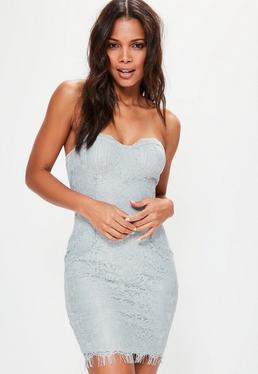Blue Lace Bust Cup Bodycon Dress