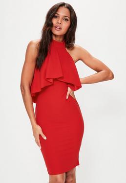 Figurtbetontes Neckholder Kleid mit Rüschenlayer in Rot