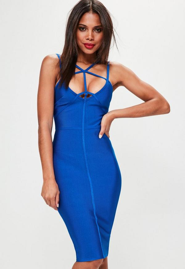 Blue Strappy Front Bandage Midi Dress