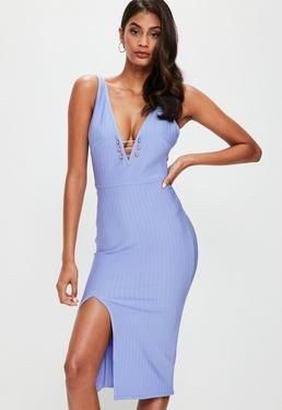Blue Contrasting Gold Bar Plunge Split Midi Dress