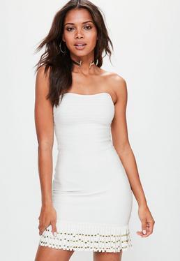 Bandeau Kleid mit Nieten Fransen in Weiß