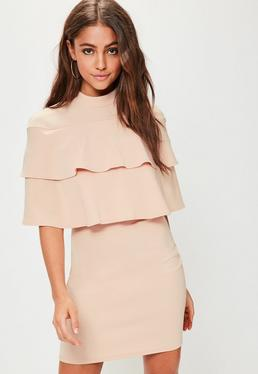 Pink High Neck Frill Short Sleeve Dress