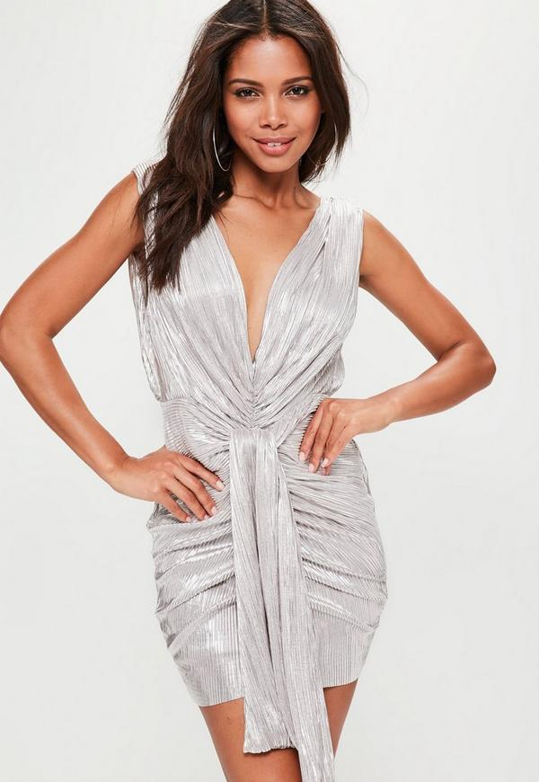 Silver Metallic Pleated Mini Dress
