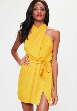 Yellow Cross Front Satin Mini Dress