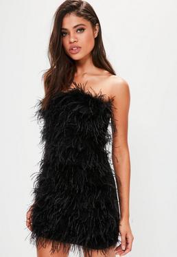 Black Feather Bandeau Bodycon Dress