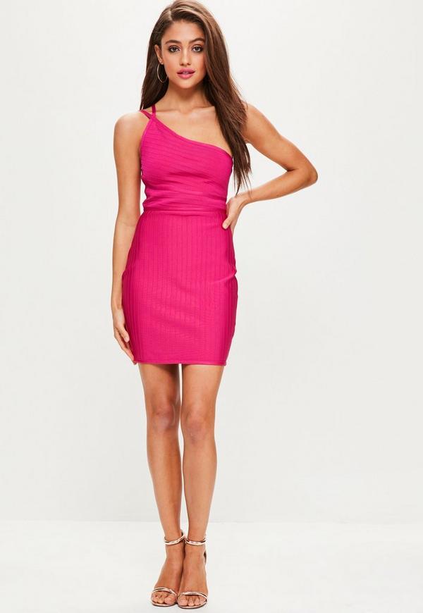 Pink One Shoulder Bandage Mini Dress | Missguided