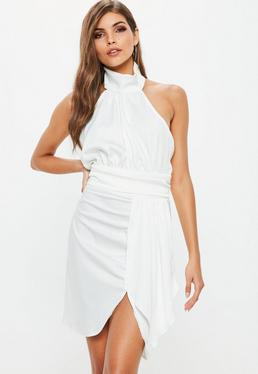 White Halter Layer Satin Mini Dress
