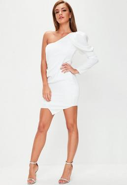 White Puff Sleeve One Shoulder Mini Dress