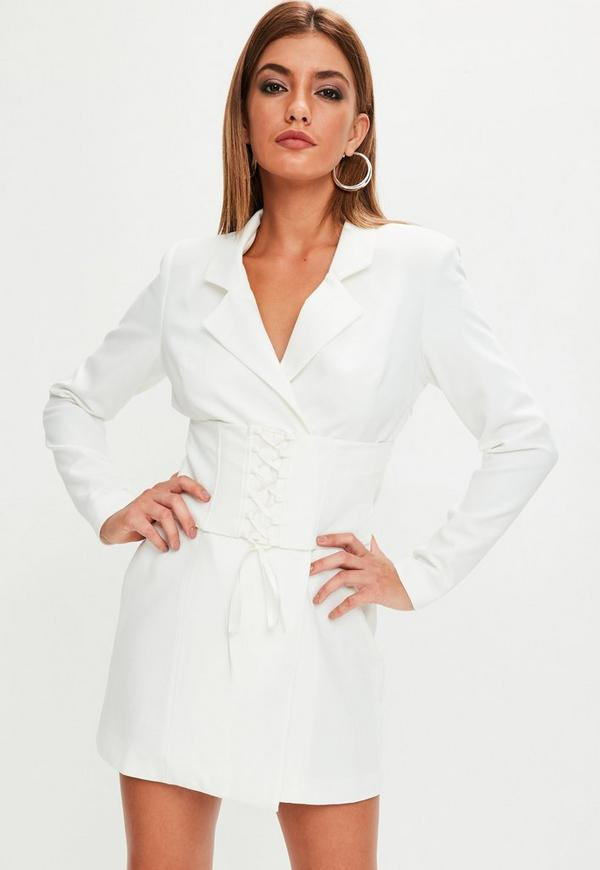 White Corset Front Blazer Dress