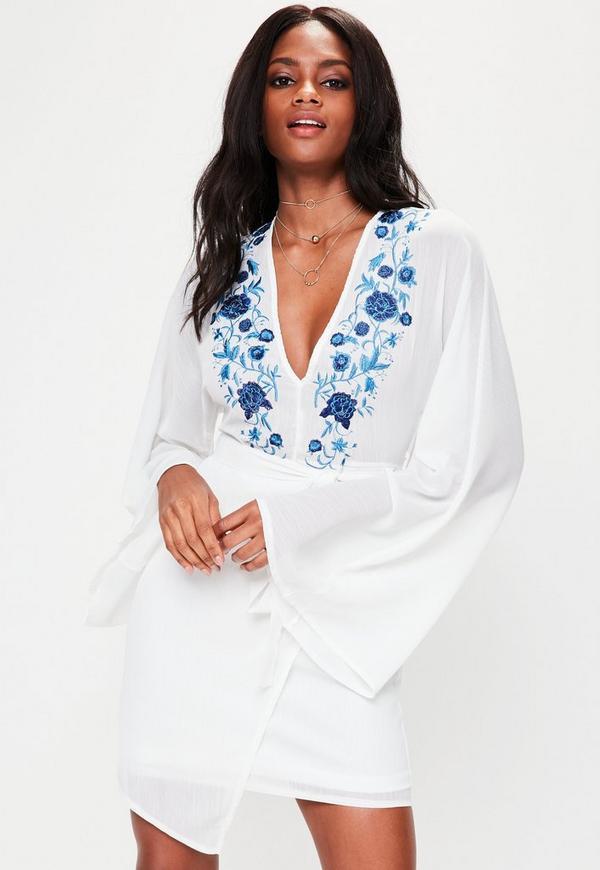 White Embroidered Kimono Plunge Front Dress