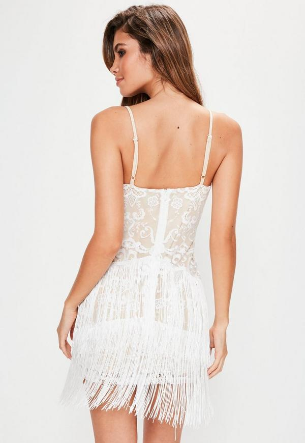 White Embroidered Fringe Detail Bodycon Dress Missguided