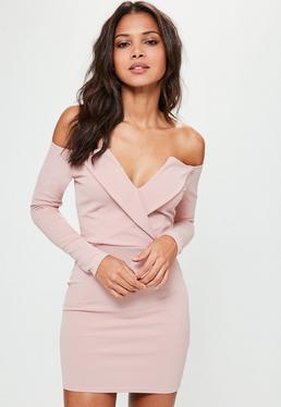 Vestido cruzado con escote bardot con solapas en rosa