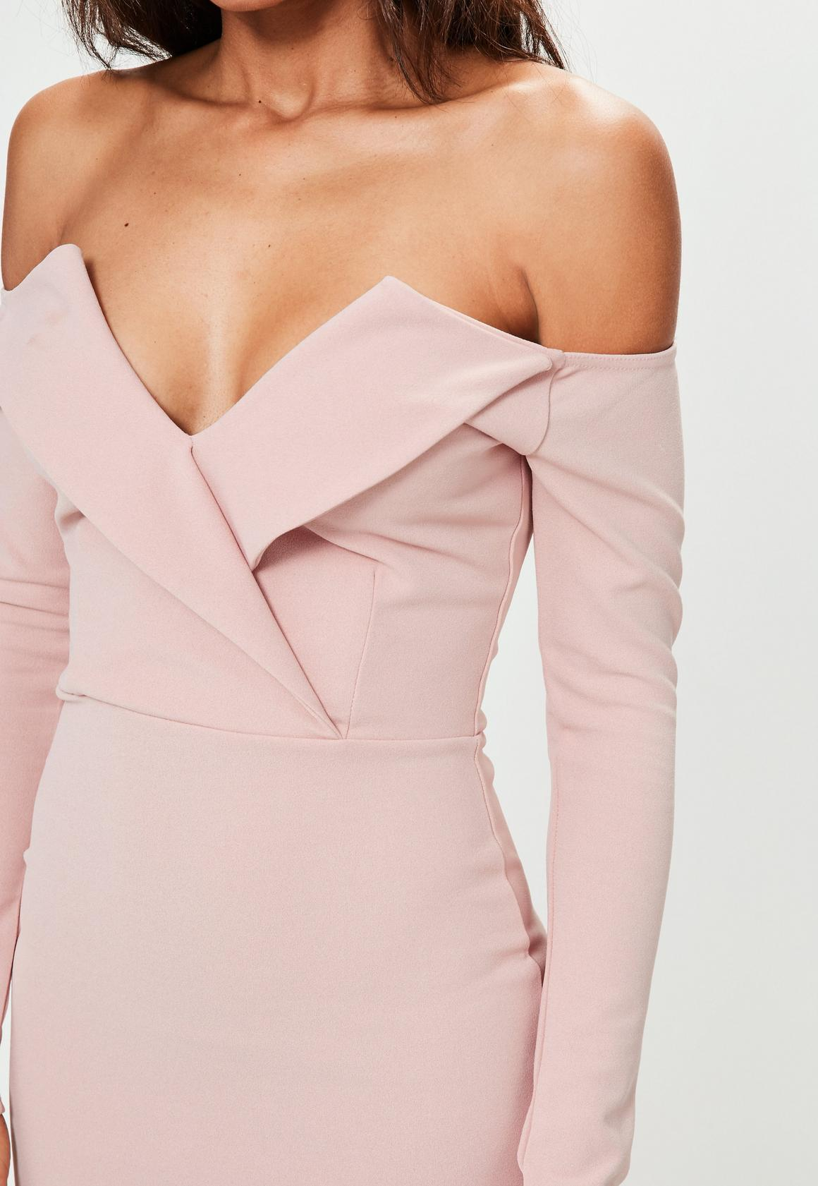 f827bad2adc1 Missguided Pink Bardot Foldover Wrap Dress, Blush at £25 | love the ...